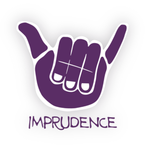 Stylized purple hand, palm forward, with thumb and pinky extended in a 'shaka' sign. Underneath is the word Imprudence in capital letters.