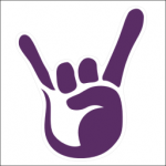 Imprudence Logo Draft (Rock Hand): Stylized purple hand with index and pinky fingers extended in a 'rock out' or 'horns' gesture.