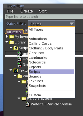Screenshot of the Inventory Quick Filter feature.